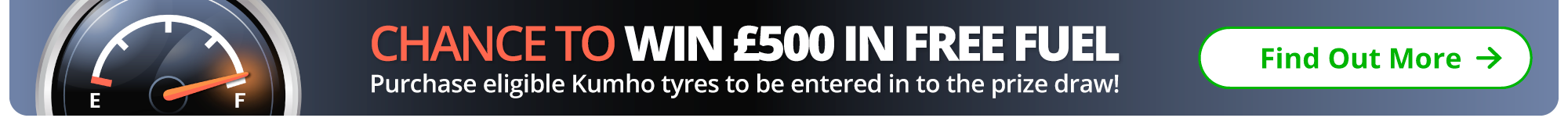 Chance to win £500 in free fuel when you order eligible Kumho tyres