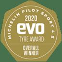 EVO Tyre test Gold Award